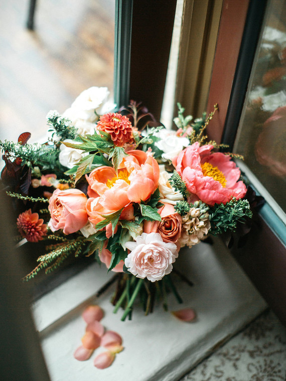 vivid peach and coral flower summer wedding bouquets