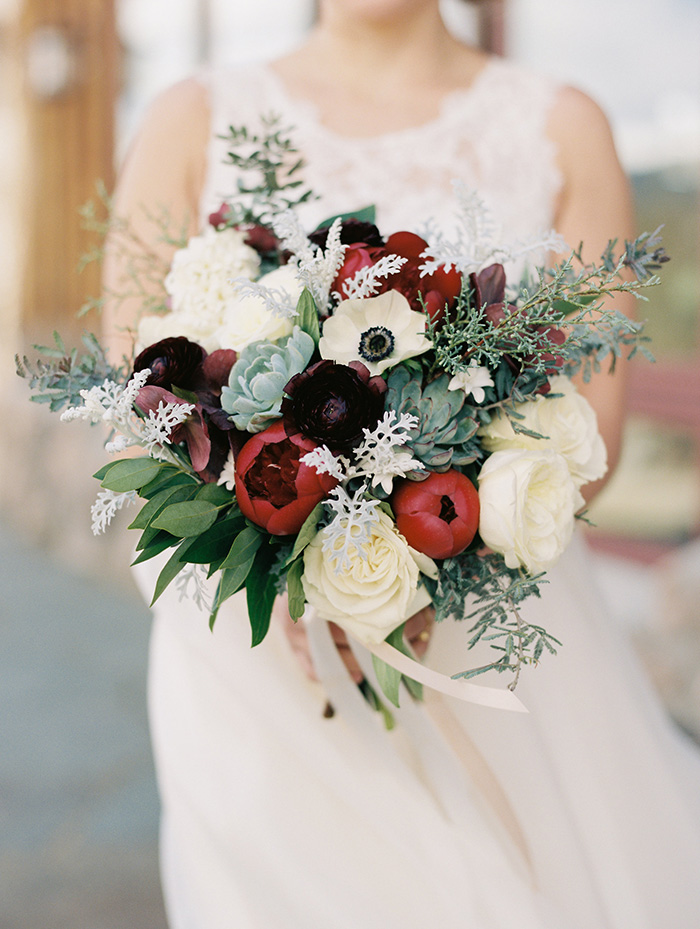 white and burgundy flower and succulent spring and summer bridal bouquet