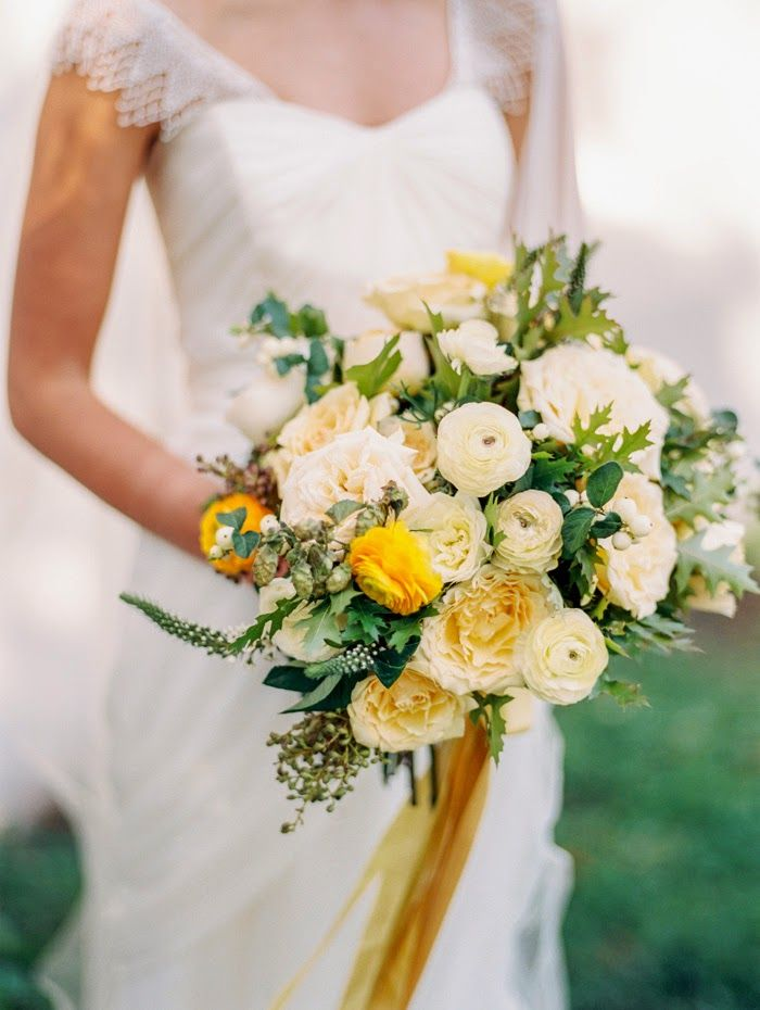 yellow greenery summer wedding bouquets with golden ribbon