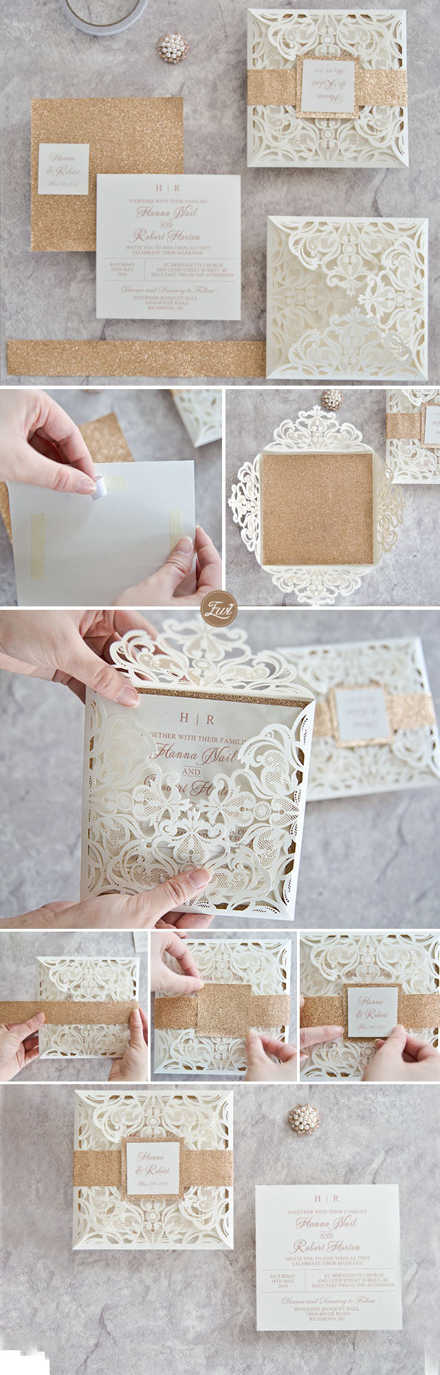 Luxury rose gold laser cut wedding invitation DIY ideas with glittery bottom card and belly band