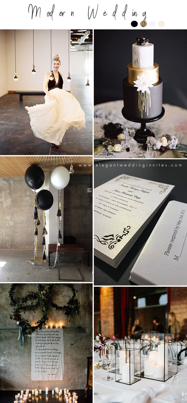 black and gold moody modern industrial weddings