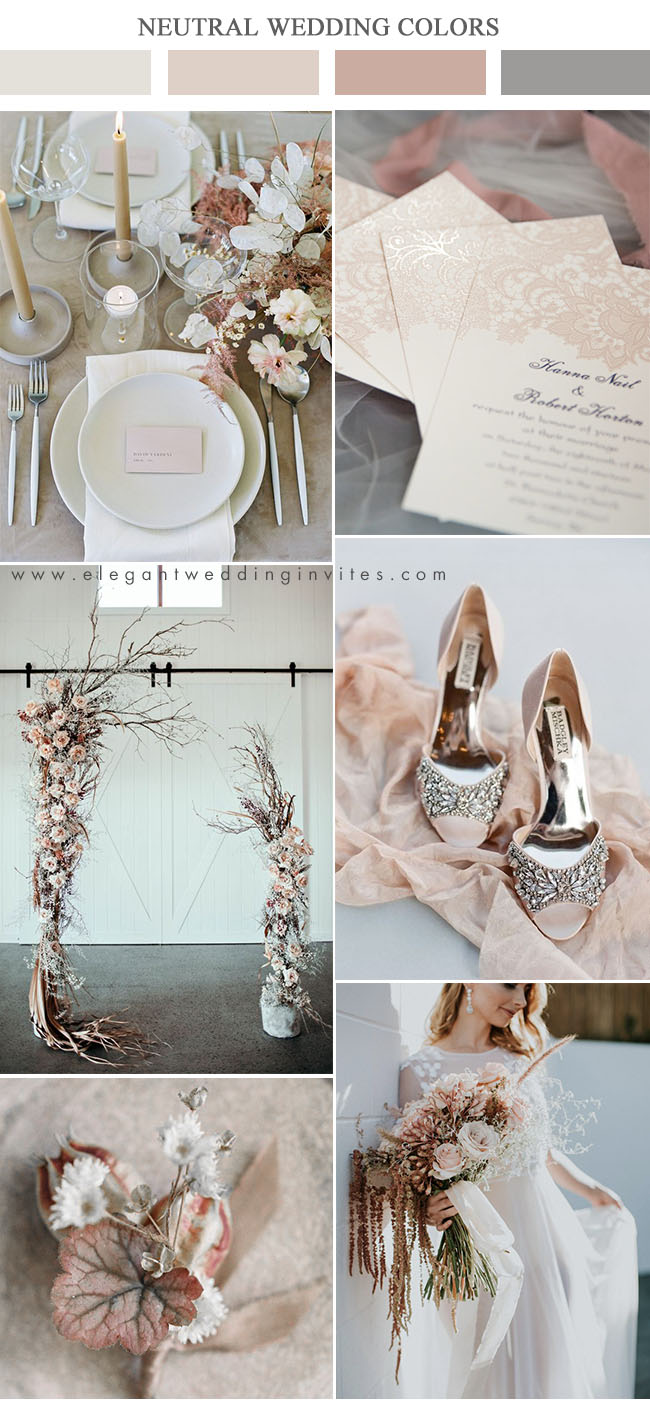 blush and beige neutral shades modern wedding colors