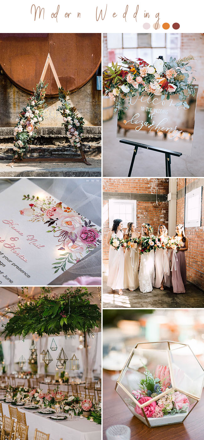 bohemian style modern warehouse wedding colors