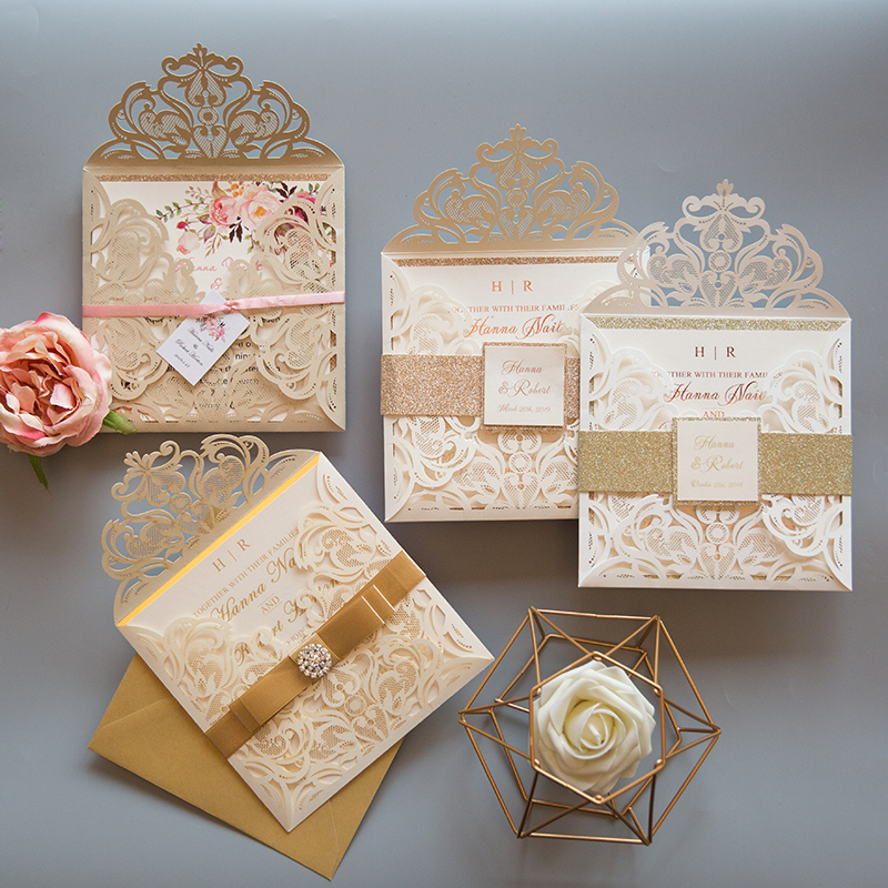 classic elegant ivory laser cut wedding invitations with gold glitter belly band