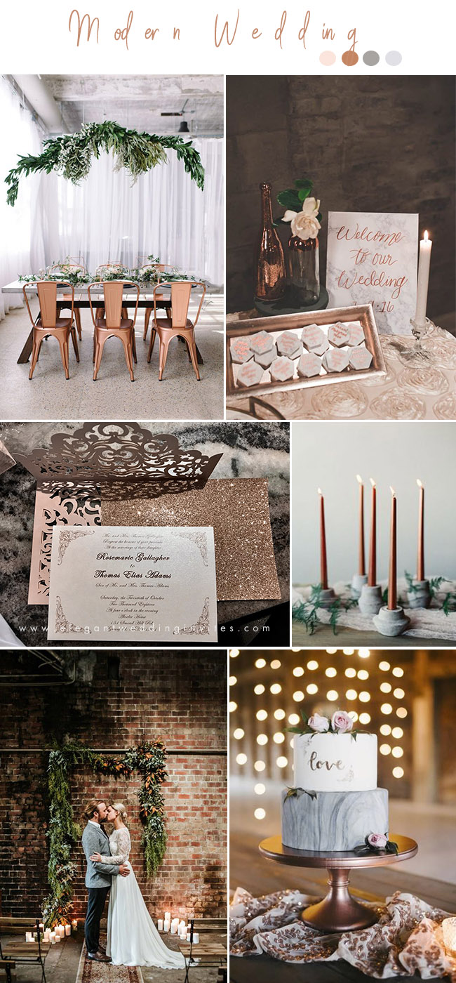 copper and marble chic modern wedding ideas