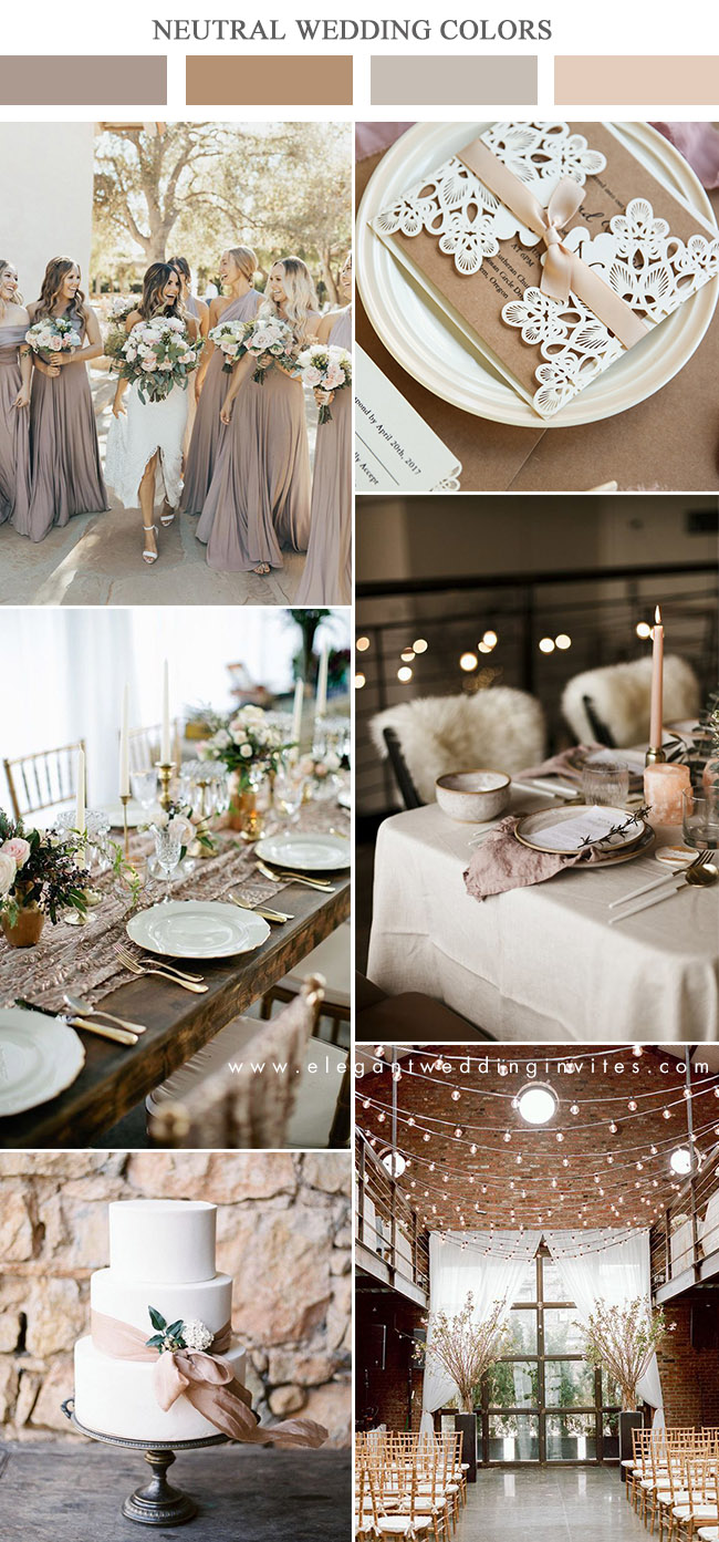 dark taupe and brown neutral wedding color ideas