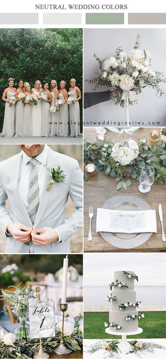 dove grey and greenery neutral wedding color palettes