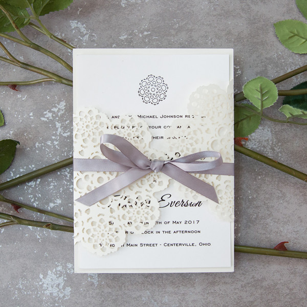 Elegant Pearl White Fl Laser Cut Wedding Invitations With Grey Ribbon Ewws155 As Low 2 09