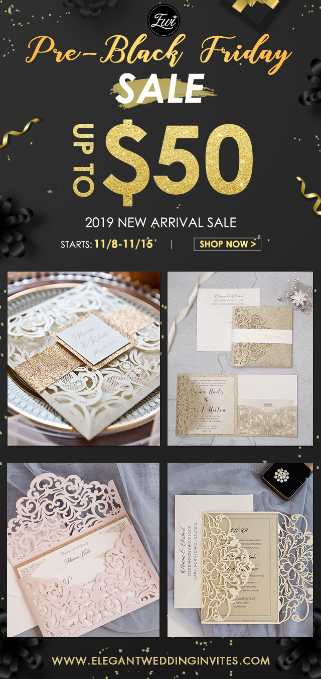 elegant wedding invites' pre-black friday sale from Nov 8 to Nov 15