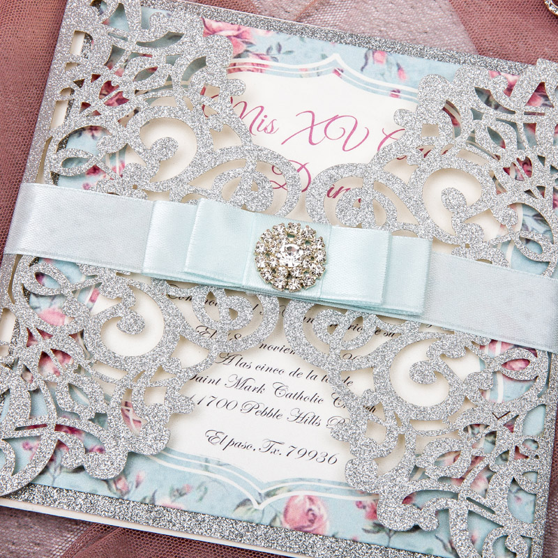 glitter silver and light blue and pink laser cut wedding invitations