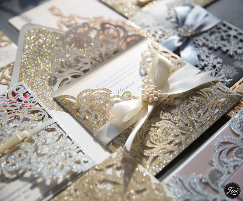 gold glittery wedding invitations from Elegant Wedding Invites