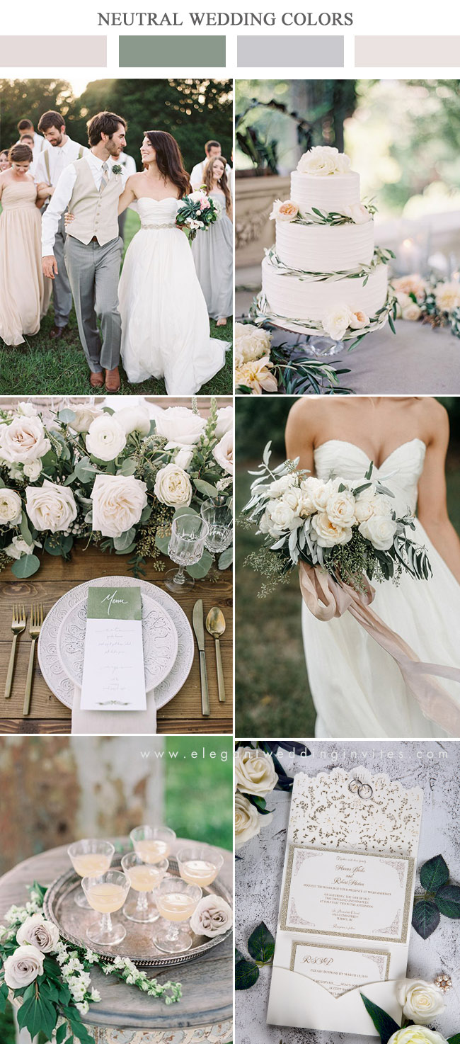 ivory peach and greenery neutral summer wedding colors