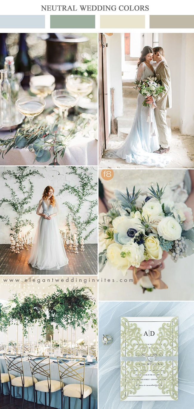 light blue and champagne gold modern neutral wedding color ideas
