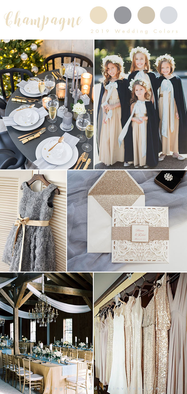 mismatched sequin champagne gold and grey luxury wedding color inspiration