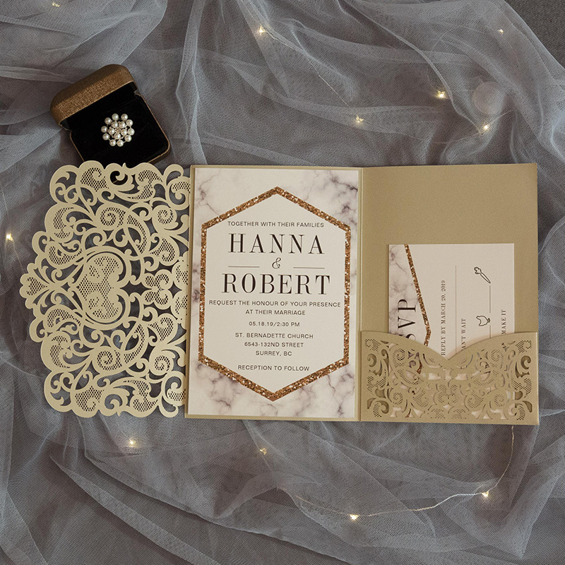 modern champgne gold marble inspired laser cut pocket wedding invitation suite
