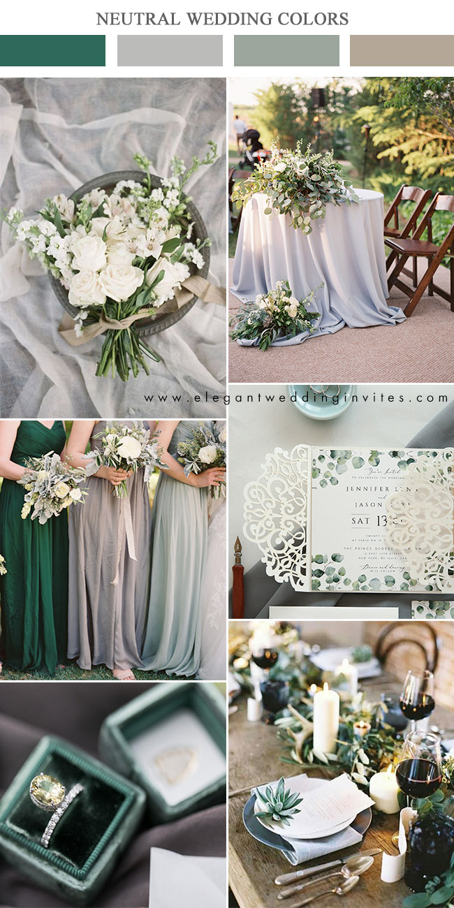 neutral greens and warm grey wedding colors with glitters