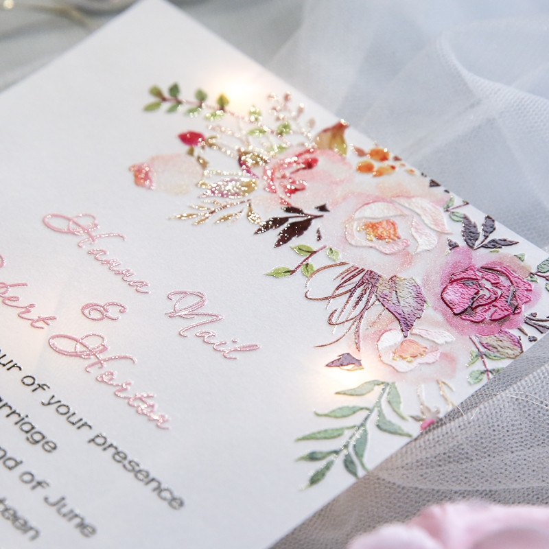 Exquisite Pink Fl Uv Printing Wedding Invitations On Vellum Paper Ewuv025 As Low 1 69
