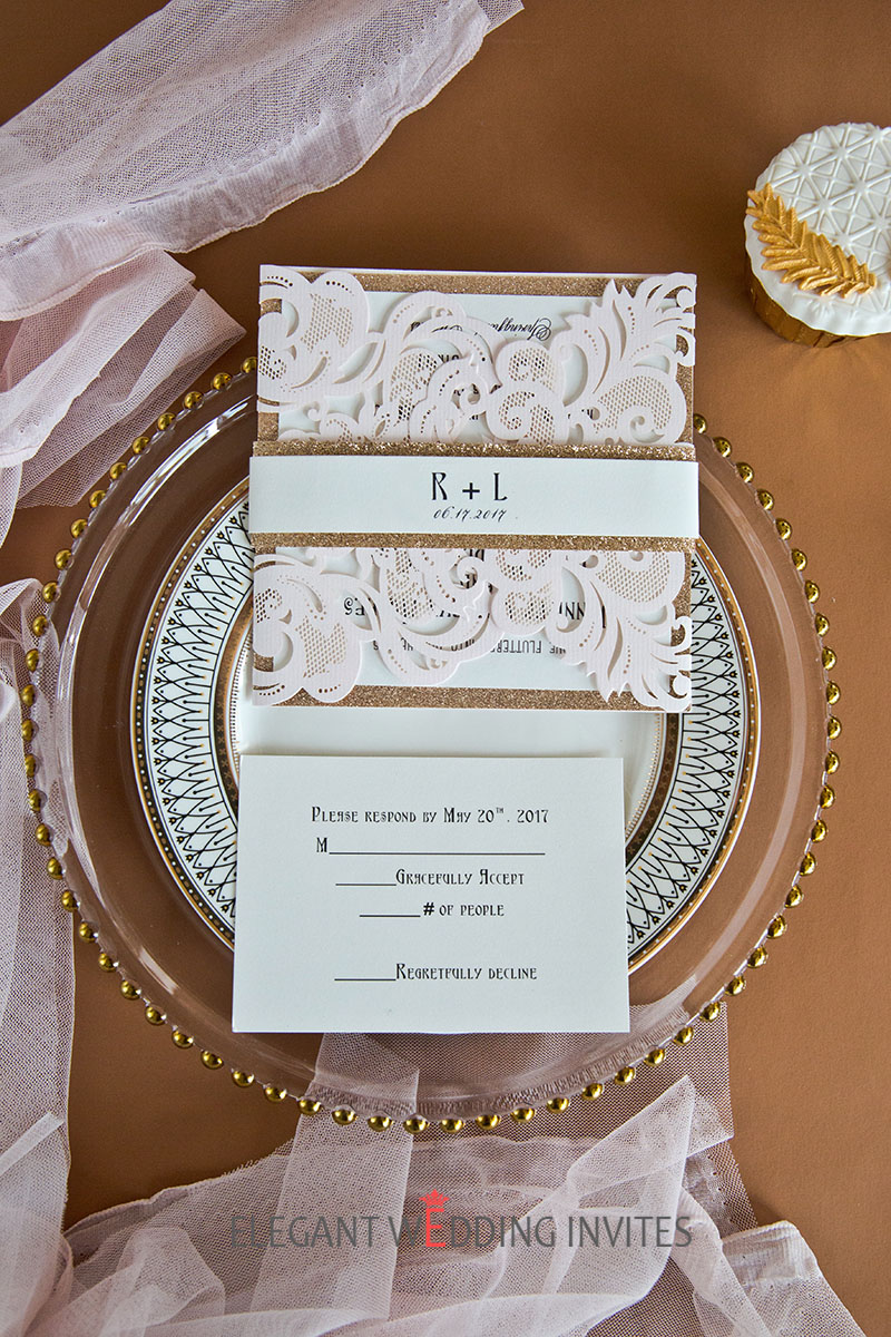 popular blush and gold glitter laser cut wedding invitation with belly band
