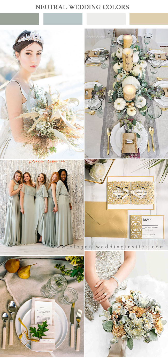 sage green,ivory and yellow neutral wedding colors