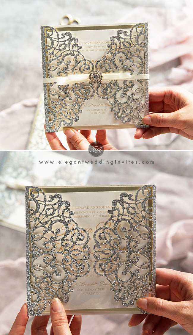 simple grand silver glitter laser cut wrap with champagne mirror paper bottom
