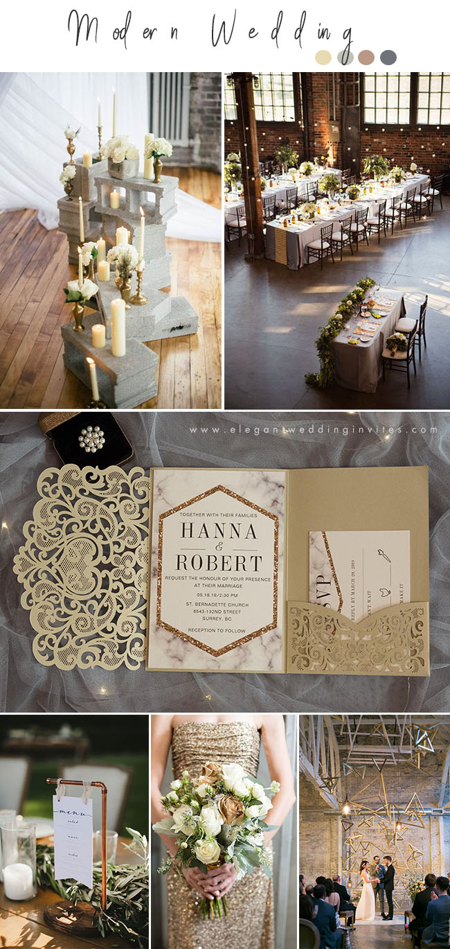 stunning gold and grey modern industrial wedding inspiration