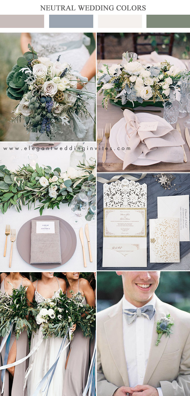 taupe,dusty blue and ivory elegant wedding color combos