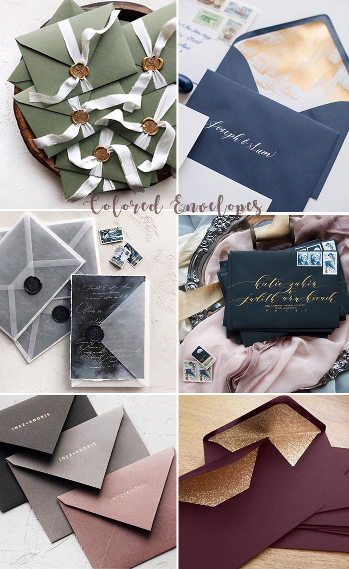 Colored and vellum envelopes for wedding invitations