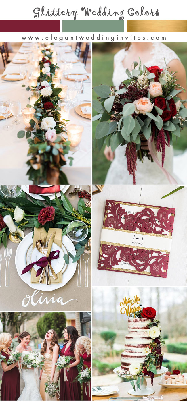 burgundy, gold and greenery wedding colors