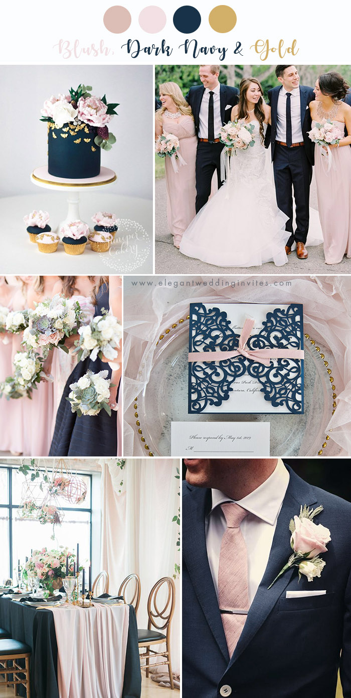 classic blush and dark navy wedding colors