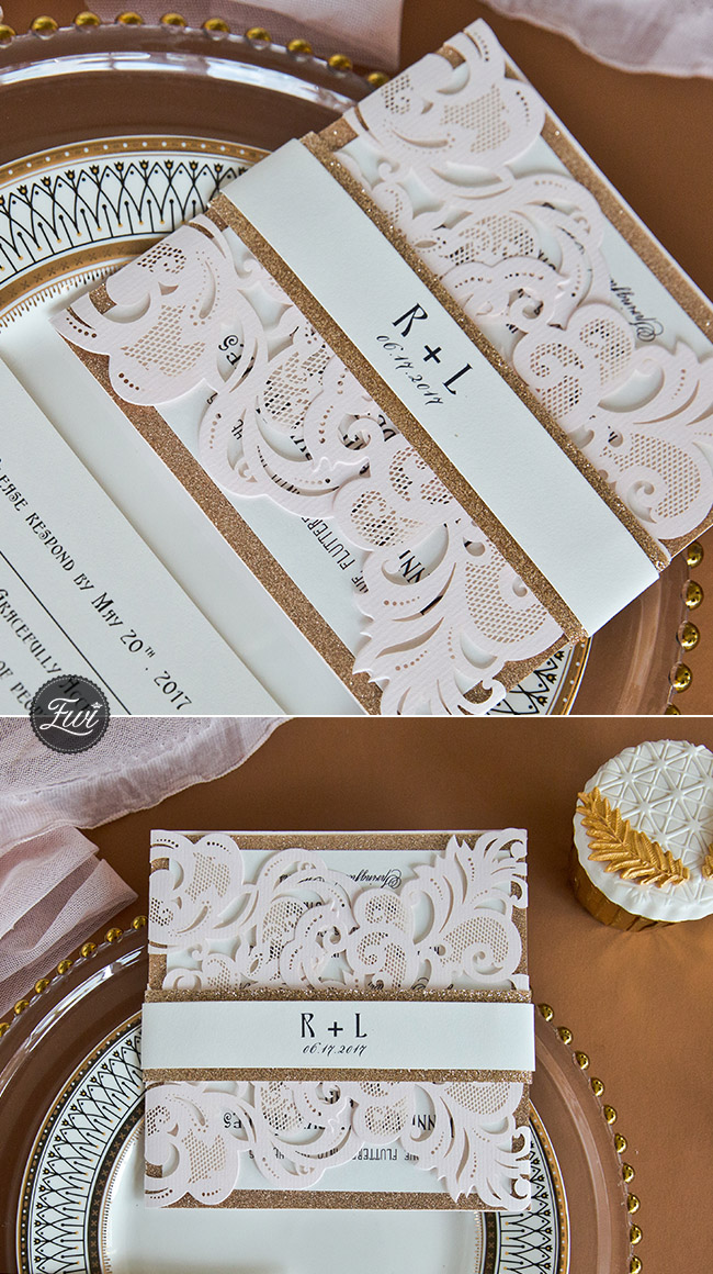 classic blush pink and rose gold laser cut wedding invitations