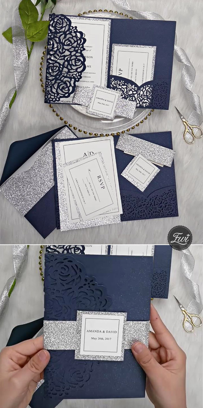 classic navy blue and glitter silver laser cut pocket wedding invitations