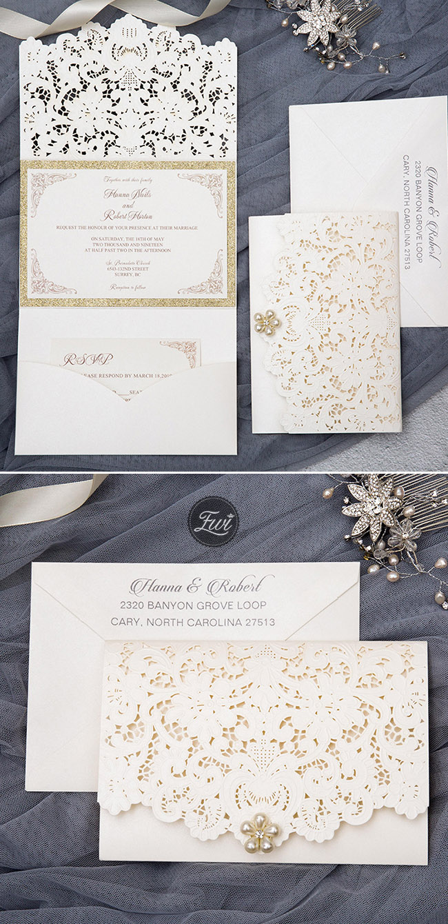 elegant and formal ivory laser cut pocket wedding invitations