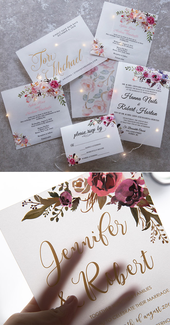 floral pattern translucent vellum paper wedding invitation cards