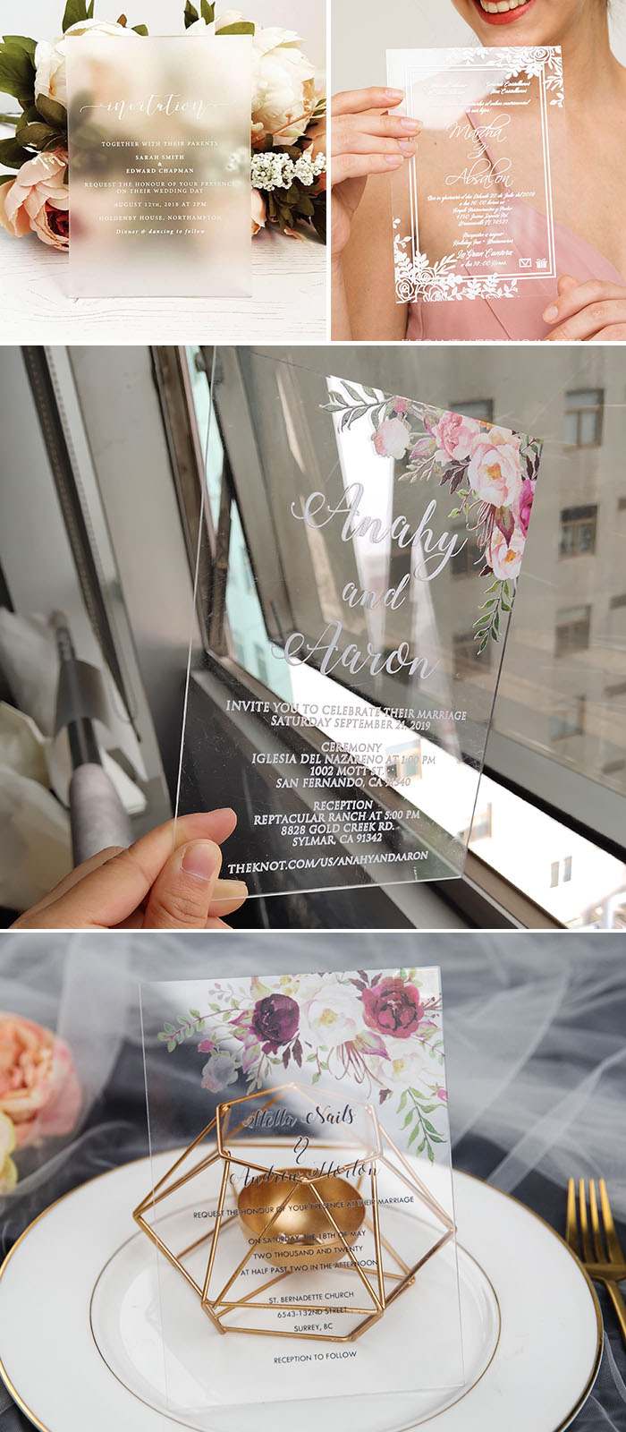 modern chic acrylic wedding invitation 2019 trends