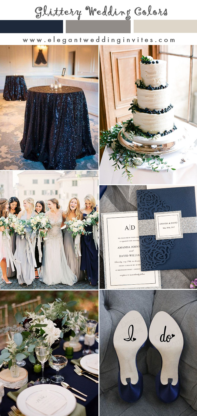 navy and silver classic garden wedding color ideas