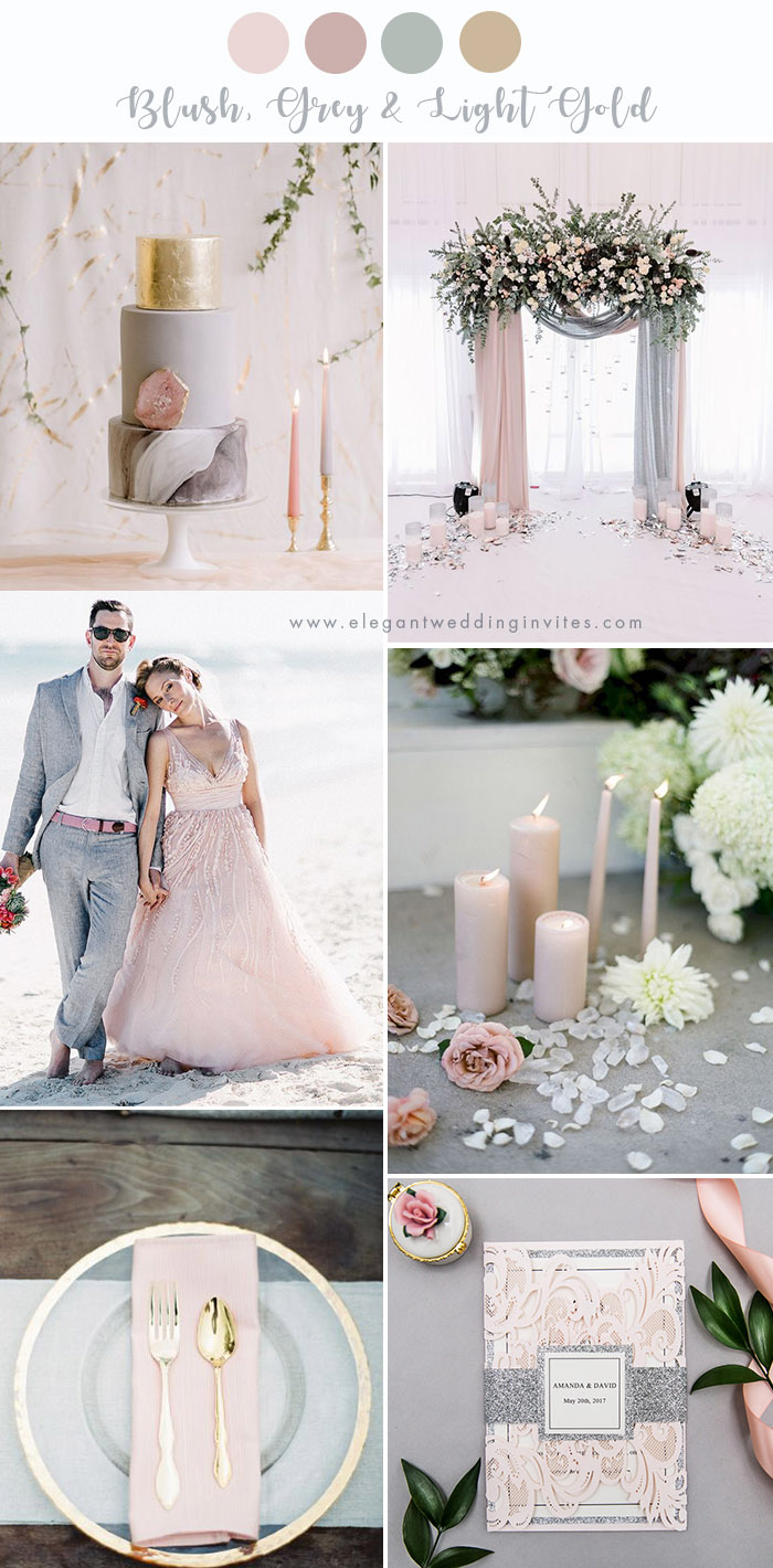 romantic blush, grey and light gold wedding party color ideas