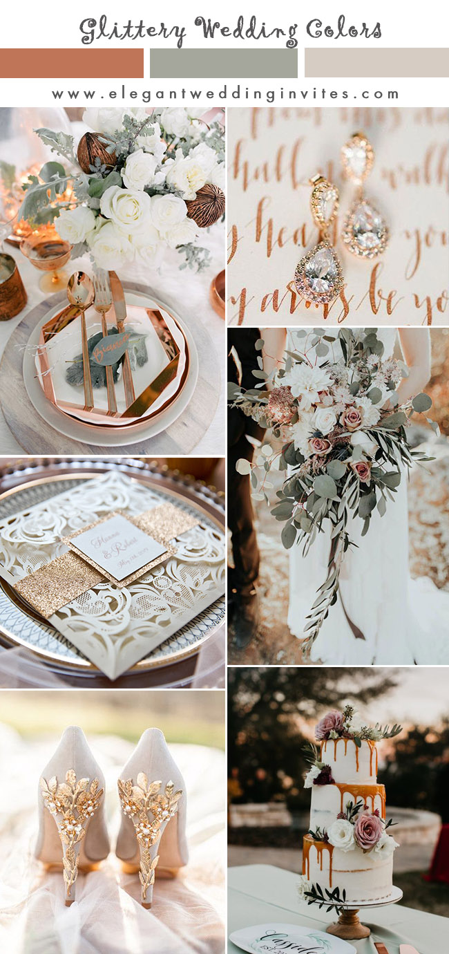 rose pink, dusty rose and sage green romantic modern wedding colors