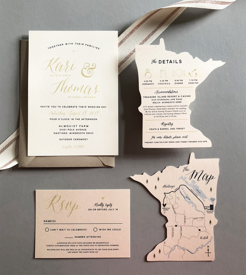 special map shape destination wedding invitation from 2019 trends