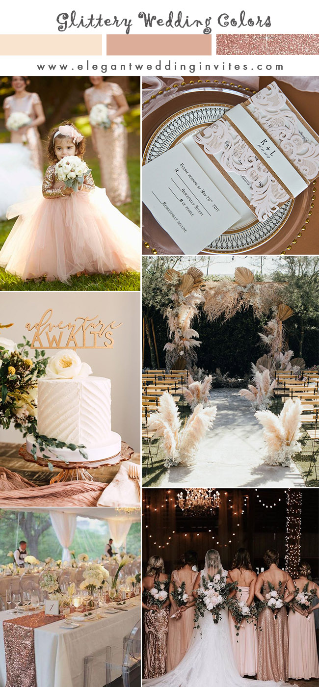 stunning blush and rose gold wedding colors with matching invitations