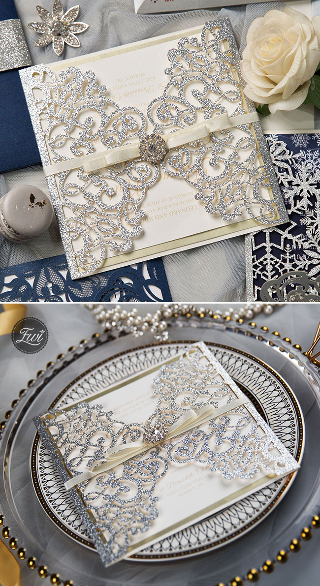stunning silver and ivory laser cut wedding invitation suit with champagne gold backer