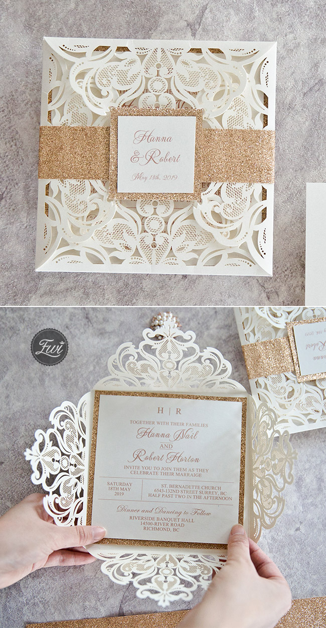 top 10 most popular laser cut wedding invitation with glitters from Elegant Wedding Invites