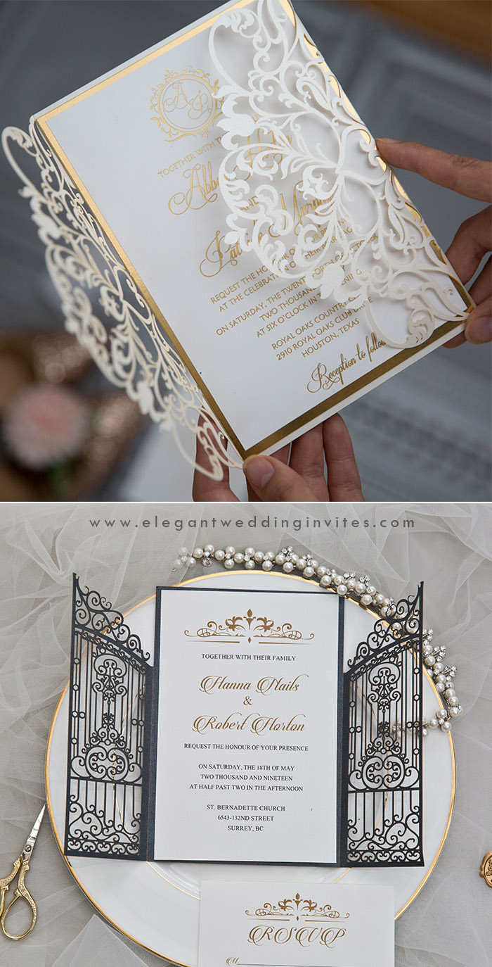 trending monogram laser cut wedding invitations for 2020