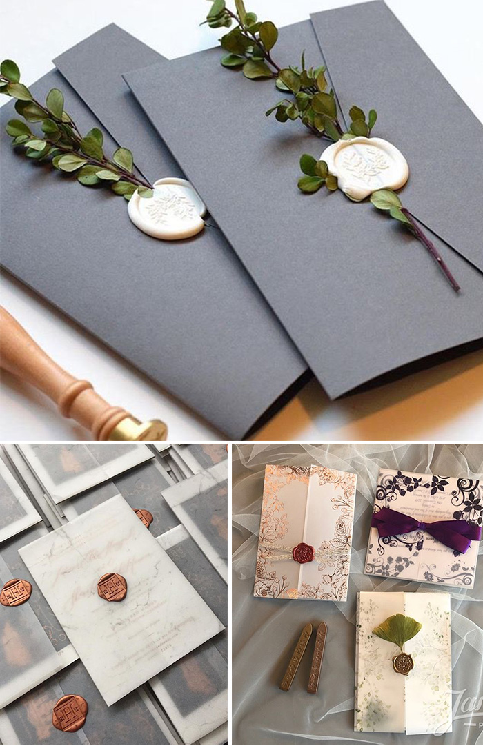 wax seal wedding invitation envelope ideas