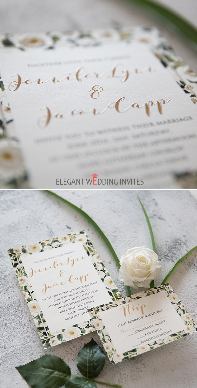 Wedding invitation with border of white roses and raised UV Printing