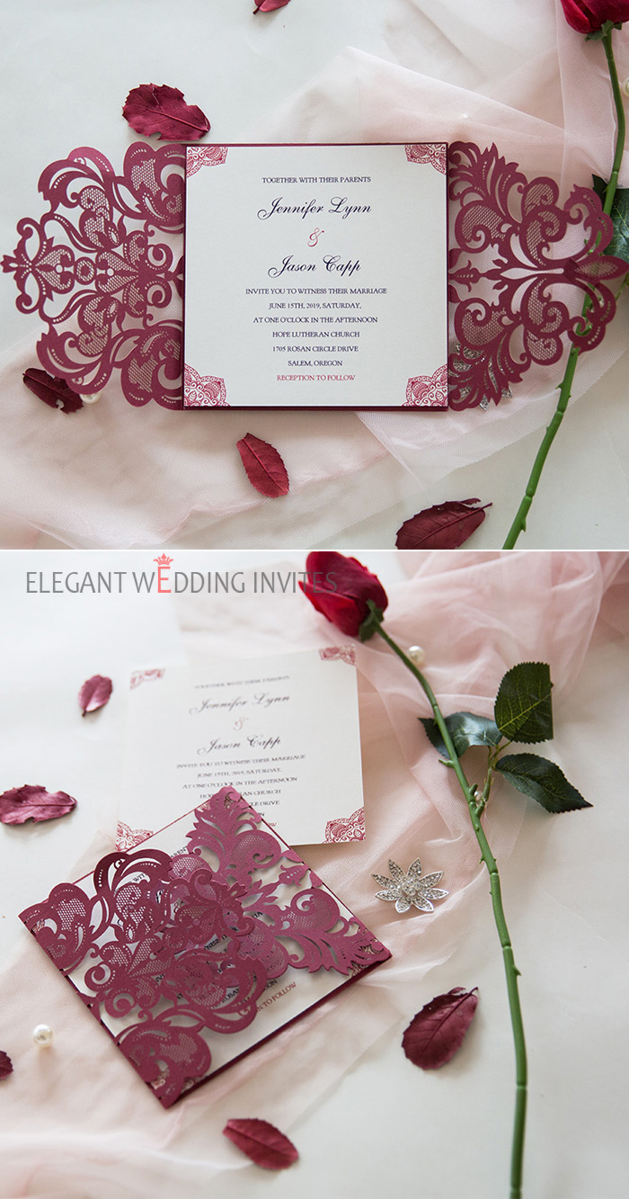 burgundy laser cut wrap with lace pattern invitation in raised UV Printing