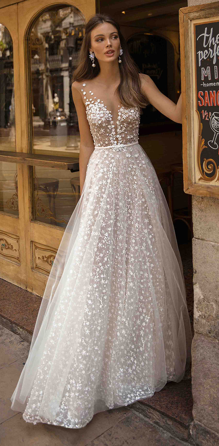 deep plunging v neck full embellishment romantic a line wedding dress