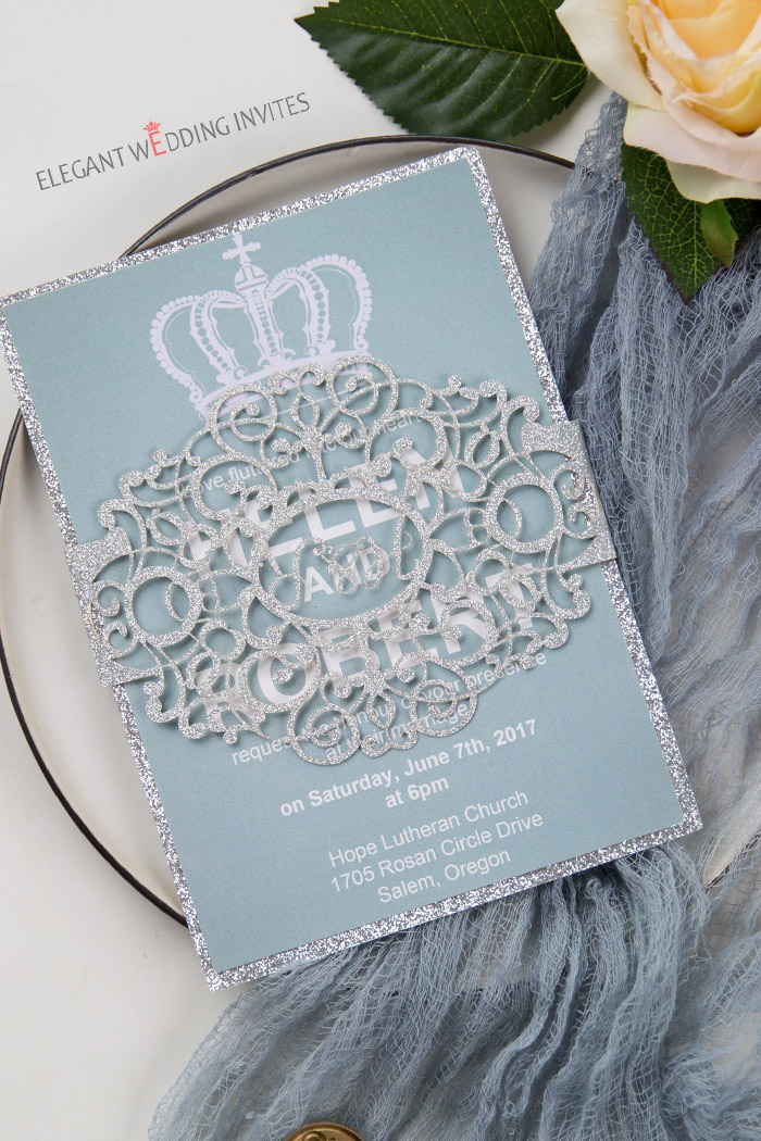 dusty blue and silver monogram wedding invitations