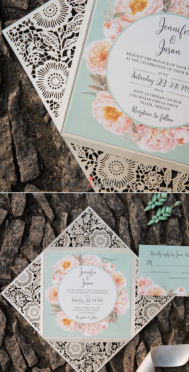elegant and fresh mint green and peach floral laser cut wedding invitations