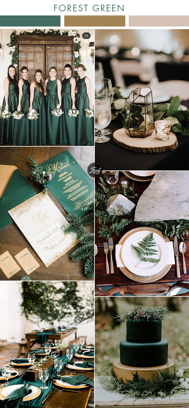 moody industrial geometric forest green and gold modern wedding colors