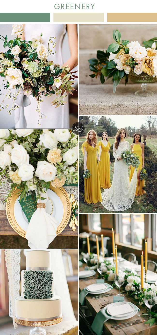 mustard yellow and greenery wedding colors